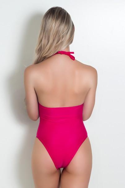 Maiô de Amarrar Liso com Bojo (Detalhe de Argola) (Rosa Pink) |  Lycra de Qualidade | Ref: DVBQ04-004