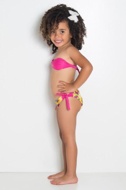 Biquini Infantil Tomara Que Caia com Bojo | Calcinha de Amarrar (Rosa / Amarelo com Melancia) | Ref: DVBQ34-001