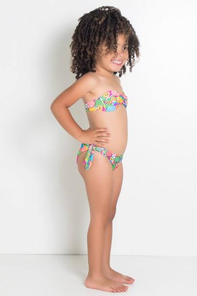 Biquini Infantil Tomara Que Caia Estampado com Bojo (Frutas Verde Amarelo e Salmão) | Ref: DVBQ35-001