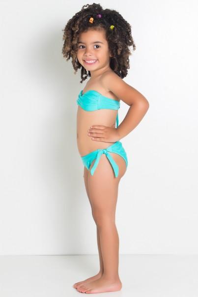 Biquini Infantil Tomara Que Caia Liso com Bojo (Verde Esmeralda) | Ref: DVBQ36-001