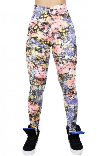 Legging Estampada Flores Salmão Roxo e Verde | Ref: CA419