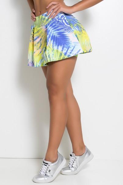 Short Saia Estampado com Bolso e Pregas (Folhagem Verde Limão e Azul) | Ref: KS-F1021-001