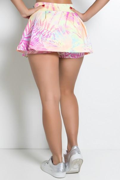 Short Saia Estampado com Bolso e Pregas (Folhagem Rosa Pink) | Ref: KS-F1021-003