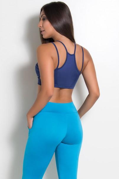 Top Nadador Embutido com Tiras no Peito (Azul Marinho) | Ref: KS-F1025-004
