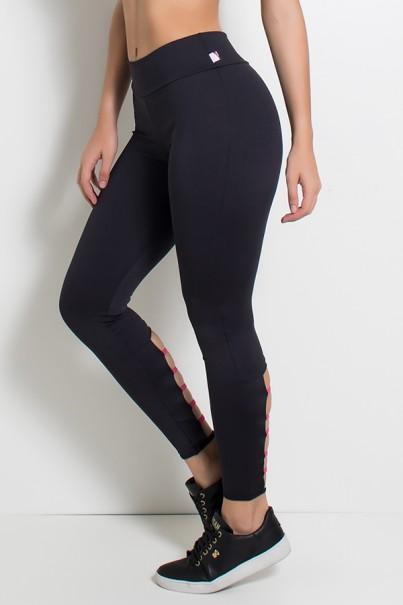 Legging Lisa com Detalhe no Tornozelo (Preto / Rosa Pink) | Ref: KS-F1136-002