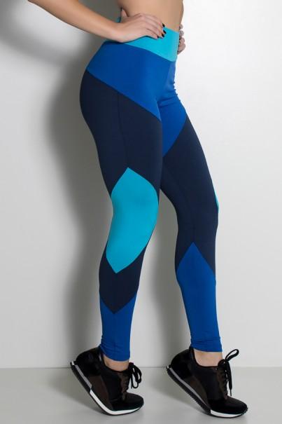 Calça Três Cores com Recorte (Azul Royal / Azul Marinho / Azul Celeste) | Ref: KS-F1244-001