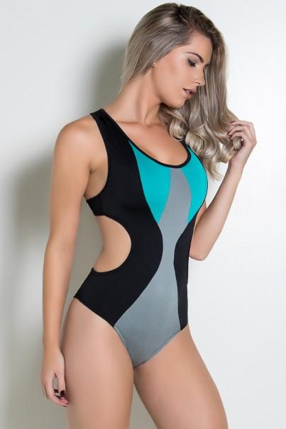 Body Nadador Três Cores (Preto - Cinza - Verde Esmeralda) | Ref: KS-F1426-001