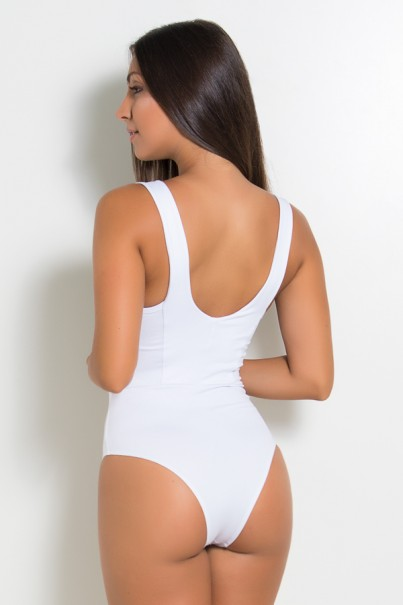 Body Liso com Listra e Recorte nas Costas (Branco / Chocolate) | Ref: KS-F1600-001