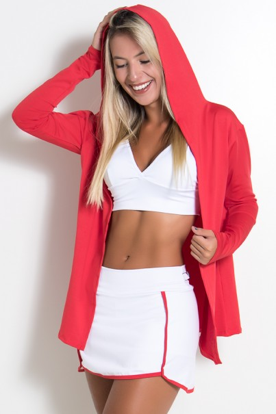 Casaco Fitness Suplex com Capuz (Vermelho) | Ref: KS-F1637-001