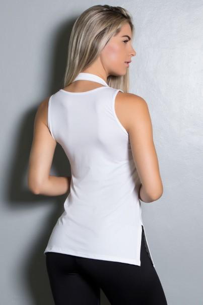 Camiseta de Microlight com Detalhe Lateral (Branco) | Ref: KS-F1662-004