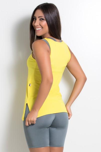 Camiseta de Microlight com Detalhe Lateral (Amarelo)   Ref: KS-F1662-007