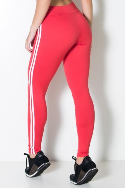 Calça Legging com Listras (Vermelho / Branco) | Ref: KS-F17-007