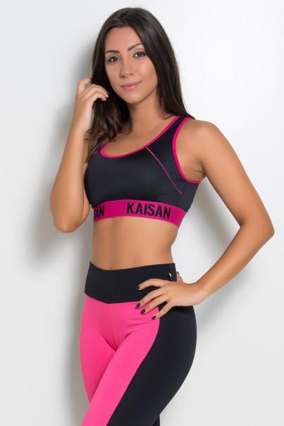 Top Liso com Ponto de Cobertura e Cós de Elástico (Preto / Rosa Pink)   Ref: KS-F1834-001