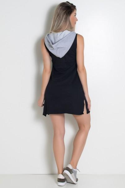 Vestido de Moletim com Bolso e Capuz (Preto / Cinza) | Ref: KS-F1874-001