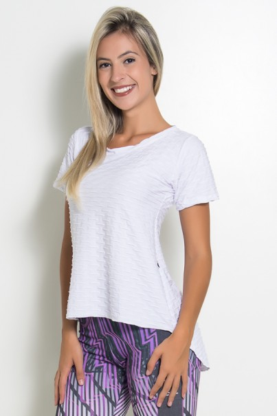 Camiseta Tecido Bolha Fitness Mullet (Branco)   Ref: KS-F199-004