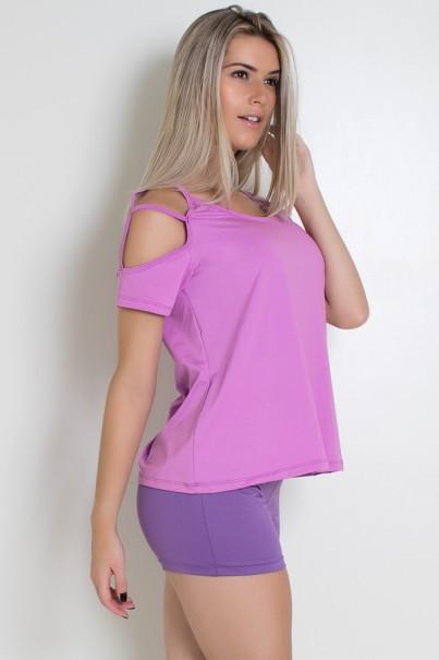 Camiseta de Microlight com Tiras no Ombro (Fucsia) | Ref: KS-F2020-001