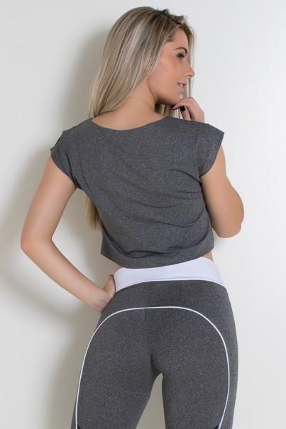 Cropped Mescla com Silk (LB Branco + Amarelo / Mescla)   Ref: KS-F2067-001