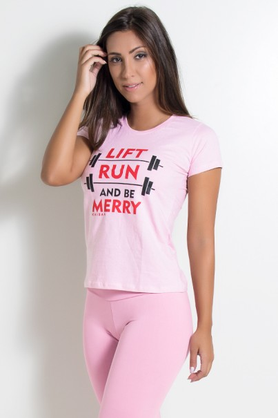 Camiseta Feminina Lift Run and be Merry (Rosa) | KS-F236-002
