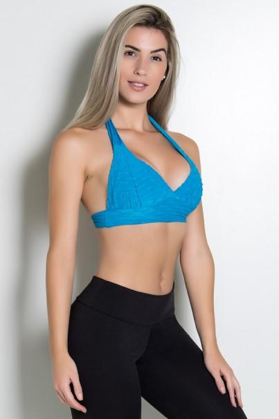 Top Tecido Bolha (Azul Celeste)   Ref: KS-F237-003