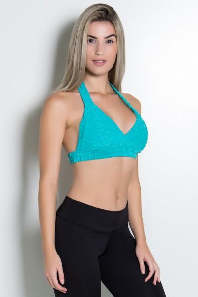 Top Tecido Bolha (Verde Esmeralda) | Ref: KS-F237-009