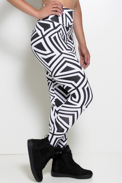 Legging Estampada (Branco com Retângulo Preto) | Ref: KS-F27-047