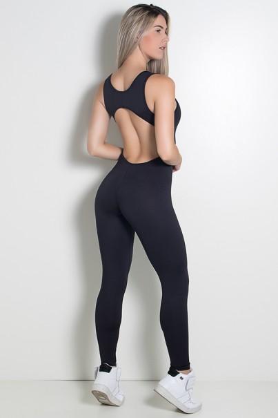 Macacão Fitness Carol Cores Lisas (Preto) | Ref: KS-F28-002