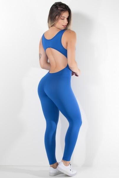 Macacão Fitness Carol Cores Lisas (Azul Royal) | Ref: KS-F28-004