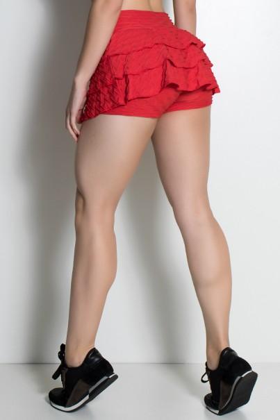 Short Saia Thais Tecido Bolha com Babado (Vermelho) | Ref: KS-F339-005