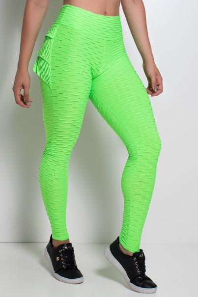 Calça Com Babado Tecido Bolha Fluor (Verde Limão Fluor) | KS-F349 -001