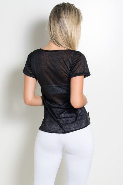 Camiseta Thayla Mullet Tecido Transparente (Preto) | Ref: KS-F374-001