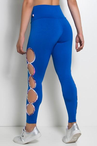 Legging Gota Sabrina Lisa com Viés Estampado (Azul Royal) | Ref: KS-F390-004