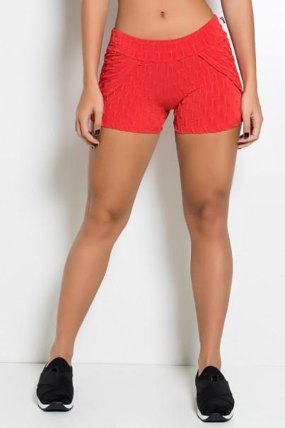 Short Saia Adriane Tecido Bolha (Vermelho) | Ref: KS-F392-002