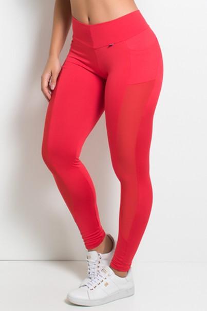 Calça Paula Lisa com Detalhe Dry Fit e Bolso (Vermelho) | Ref: KS-F584-005