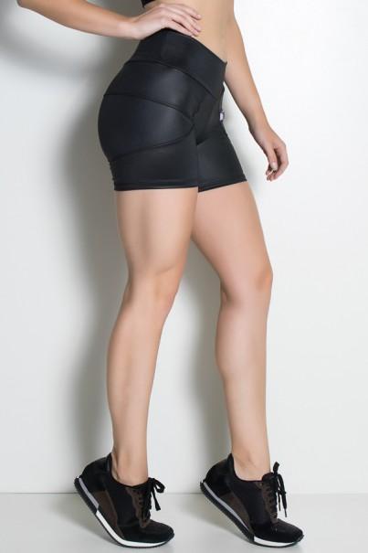 Shortinho Manuella Tecido Cirrê (Preto) | Ref: KS-F630-001