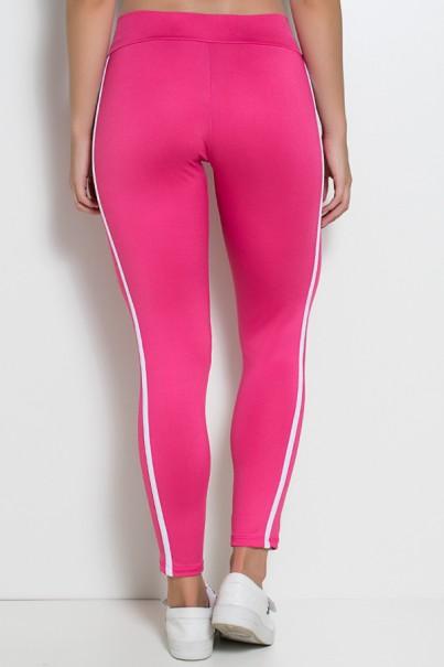 Calça Fuseau Cós Baixo com Duas Listras (Rosa Pink) | Ref: KS-F654-001