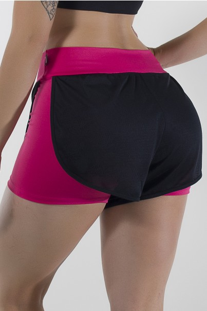 Shortinho Suplex com Dry Fit (Rosa Pink / Preto) | Ref: KS-F763-001