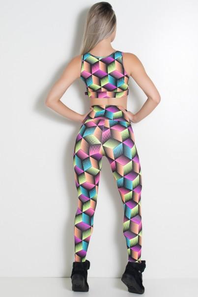 Conjunto Top Fiorela e Legging Estampada (Quadrados 3D Coloridos)   Ref: KS-F844-002