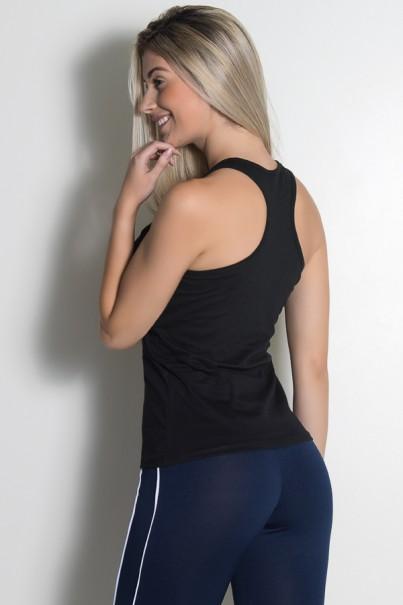 Camiseta de Malha Nadador (I Work Out) (Preto) | Ref: KS-F908-001