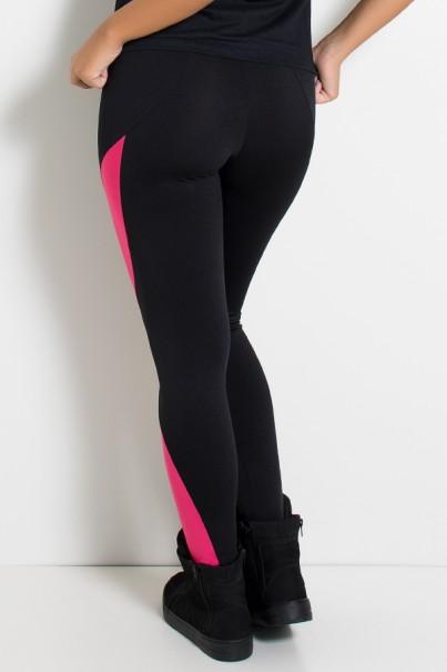 Calça Naomi Duas Cores (Preto / Rosa Pink) | Ref: KS-F910 -002