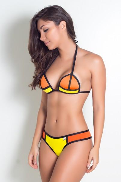 Biquini 3D com Bojo (Laranja / Amarelo) | Ref: KS-BQ65-001
