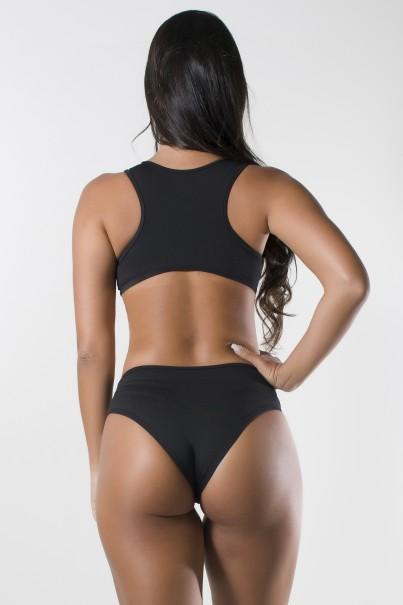 Body Liso com Detalhe Estampado e Costa Aberta (Preto / Losango Rosa Verde e Azul) | Ref: KS-F1711-001