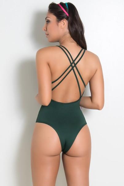 Body Liso com Tiras (Verde Escuro) | Ref: KS-F947-002