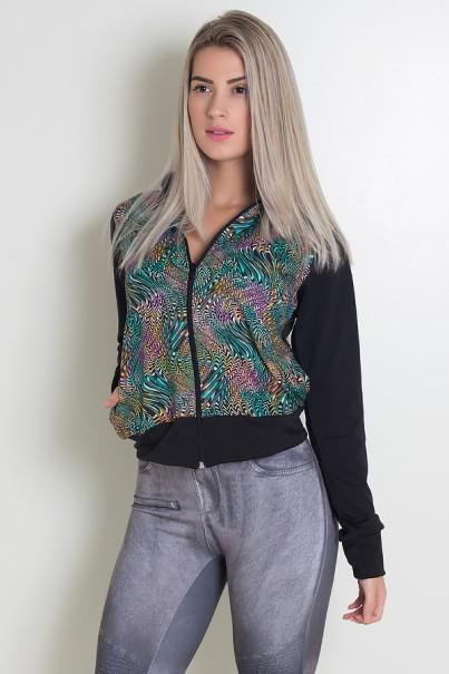 Jaqueta Lisa com Frente Estampada (Preto / Ondulado Colorido 2) | Ref: KS-F1818-002