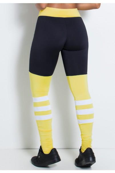 Calça Três Cores com Faixas na Perna (Preto / Amarelo Claro / Branco) | Ref: KS-F2146-001