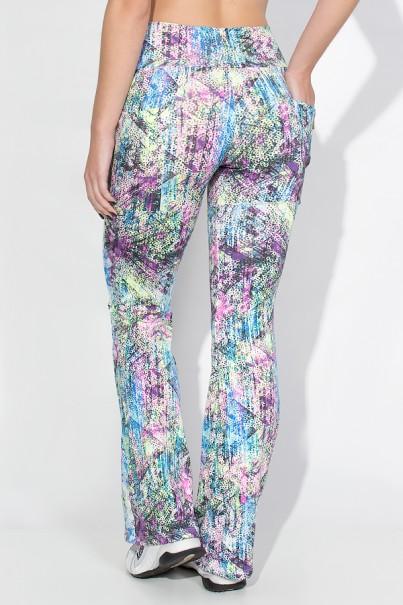 Calça Bailarina Estampada com Bolso Lateral (Mosaico e Bolinhas Coloridas) | Ref: KS-F191-002
