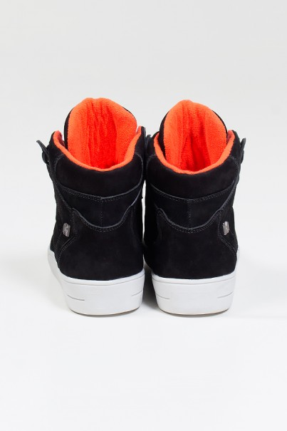 Sneaker Cano Médio Nobuck (Preto / Laranja) | Ref: KS-T45-002