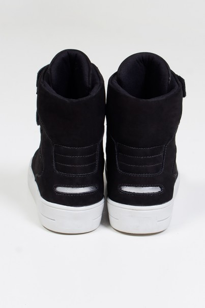 Sneaker Cano Alto Nobuck com Velcro (Preto / Prata) | Ref: KS-T46-003
