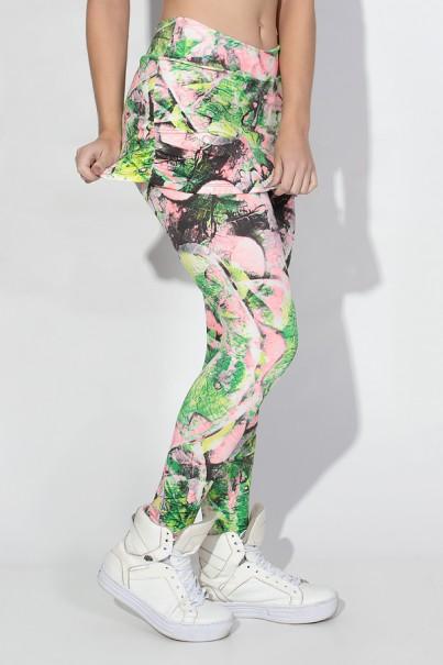 Calça Legging Saia Franzida (Folha Verde e Rosa) | Ref: KS-F122-005