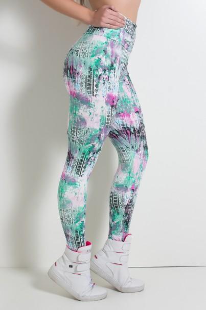 Legging Estampada Mosaico com Mancha Verde e Rosa | Ref: KS-F27-064
