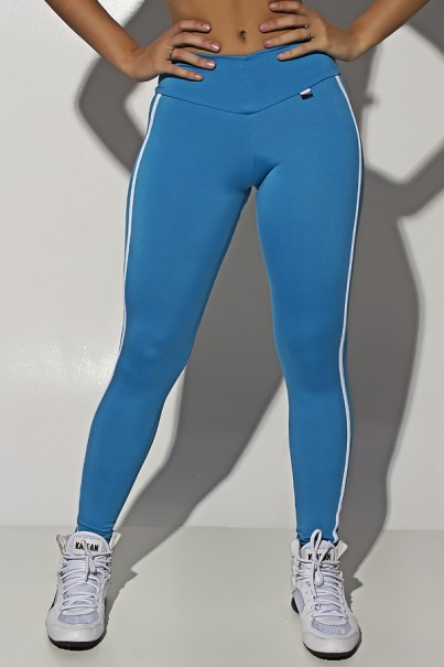 Legging Cós Baixo com Duas Listras (Azul Celeste)   Ref: KS-F654-005